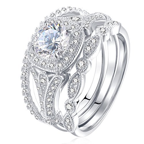 Newshe Bridal Set 2ct Round Cut White Cz 925 Sterling Silver Wedding Engagement Ring Set Size 8 (3 Ring Engagement Set)