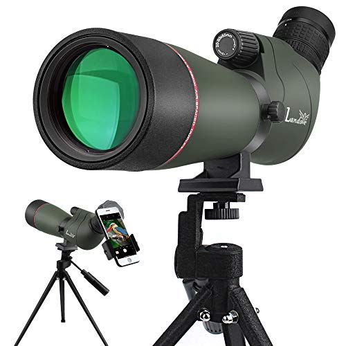 LANDOVE Upgrade Prism Spotting Scope - 20-60X65mm BAK4 Waterproof Angled Spotting Scope with Tripod and Smartphone Holder for Target Shooting Bird Watching Hunting Archery Wildlife Observing