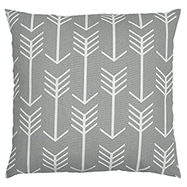 JinStyles® Cotton Canvas Arrow Accent Decorative Throw Pillow Cover (Slate Gray, White, Square, 1 Cushion Sham for 16 x 16 Inserts)