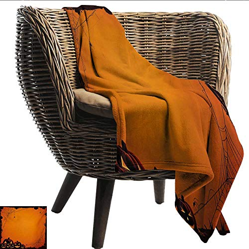 EwaskyOnline Halloween Blanket Grunge Spider Web Jack o Lanterns Horror Time of Year Trick or Treat Print Camping Throw,Office wrap 72