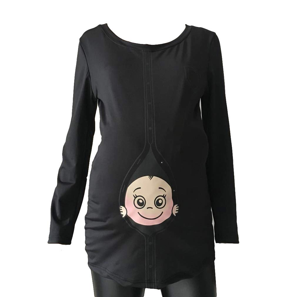 Yying Maternity Camisetas Funny Baby Loading Mujeres Embarazadas Camiseta de Manga Larga Tops de Ropa Tees Embarazo Wear