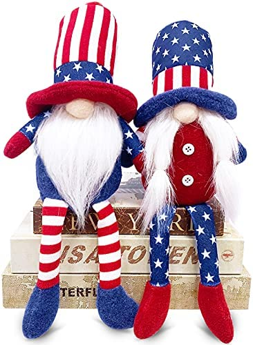TURNMEON 2 Pcs Patriotic Gnomes Plush 4th of July Decorations, Uncle Sam Tomte Stars Stripes Doll Scandinavian Ornaments for Memorial Day Independence Day Decor Home Kitchen Household Table Figurines