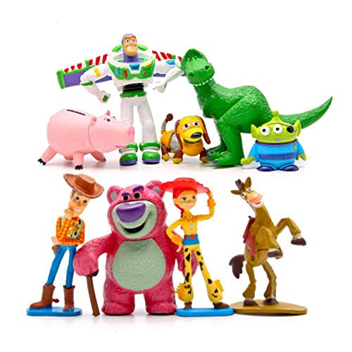 ToysOutletUSA Toy Story Figures Play Set Collectible 9 Pcs Size 4 to 8 cm + 1 Bonus Stickers - Ideal Cupcake Toppers Party Favors Decorations