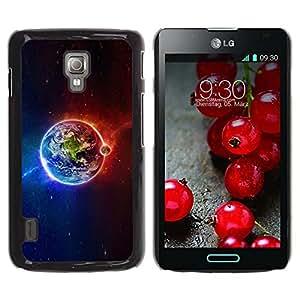 Qstar Arte & diseño plástico duro Fundas Cover Cubre Hard Case Cover para LG Optimus L7 II P710 / L7X P714 ( Planet Earth Iridescent Magnetic Cosmos)