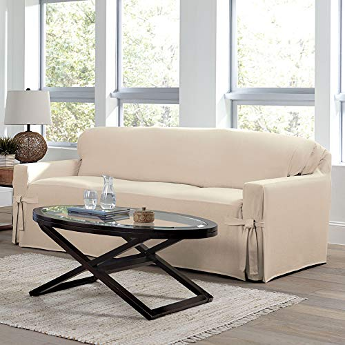 BrylaneHome Mix & Match Solid Cotton Sofa Slipcover - Natural