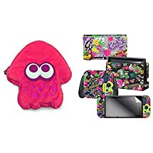 "HORI Splatoon 2 Squid Plush Pouch (Neon Pink) - Nintendo Switch & Controller Gear Nintendo Switch Skin & Screen Protector Set, by Nintendo - Splatoon 2 ""Stick Em' Up - Nintendo Switch"