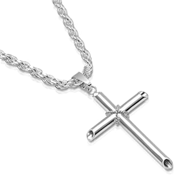 2ec2855013fea Mens Sterling Silver Cross Pendant Rope Chain Necklace Italian Made - Large  - 4.0mm - 18 Inch
