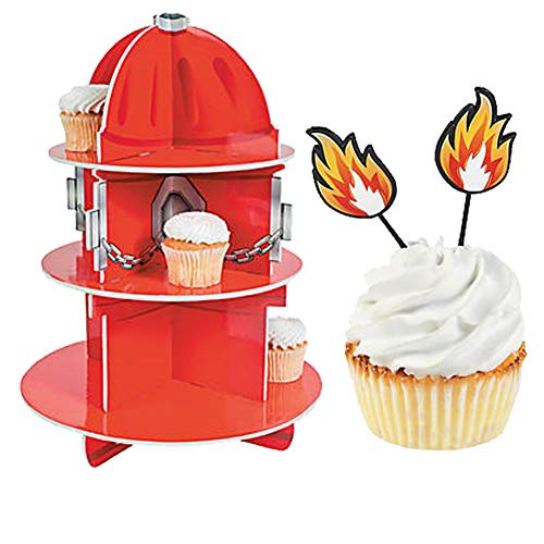Red Fire Hydrant Cupcake Holder Stand with 25 Plastic Fire Food Picks - Firefighter Theme Birthday Party Firemen Department Table Decoration ()