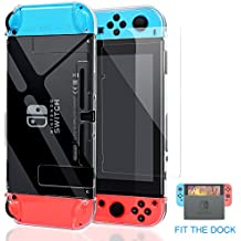 Nintendo Switch Case, Fit the Dock Station, Meneea Protective Accessories Cover Case for Nintendo Switch - Dockable with a Tempered Glass Screen Protector, Crystal Clear