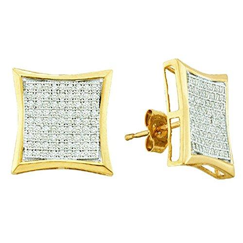 - Fingalo 0.50 Carat (ctw) 10K White Gold Round White Diamond Ladies Micro Pave Kite Shape Stud Earrings