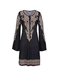 Womens Dresses Women Fashion Casual Sexy Halter Neck Boho Print Long Sleeve Casual Mini Beachwear Dress Sundress