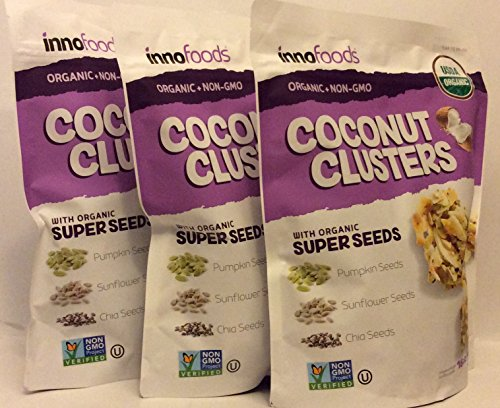 - InnoFoods Coconut Clusters with Organic Super Seeds (Pumpkin; Sunflower & Chia Seeds) ( 3 PACK OF - 16 oz Each Bag)