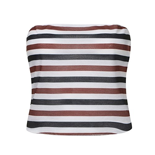 Eolgo 2019 Women's Summer Blouse Sexy Striped Tank Fashion Off Shoulder Shirt Tight Wrap Vest Tops(Red,M) by Eolgo (Image #1)