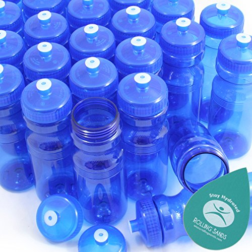 (Rolling Sands BPA-Free 24 Ounce Blue Water Bottles, Bulk 100 Pack, Made in USA)