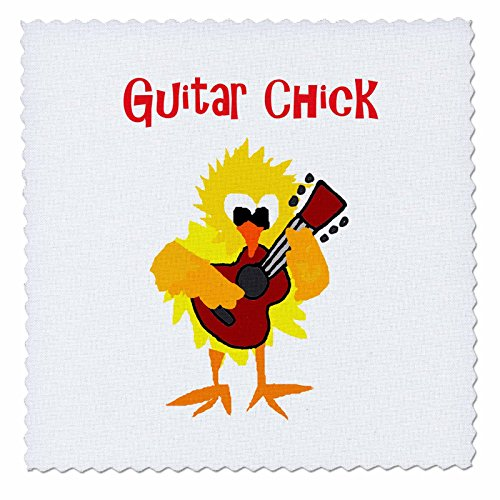 3dRose All Smiles Art Music - Funny Cool Guitar Chick Chicken Playing Guitar - 8x8 inch quilt square (qs_255743_3)