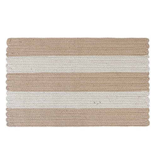LOCHAS Braided Area Rug Hand Woven Striped Rug 1.5' x 2.4' Reversible Jute with White Linen Carpet For Living Room Bedroom Kitchen Bathroom Rugs