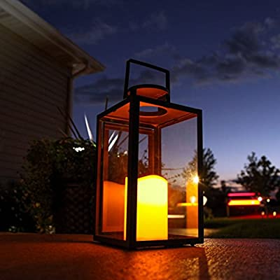 Black Glass Outoor Battery Lanterns