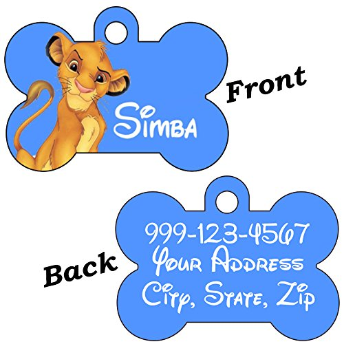 uDesignUSA Disney Double Sided Pet Id Tags for Dogs & Cats Personalized for Your Pet (Simba, Bone Shaped) ()