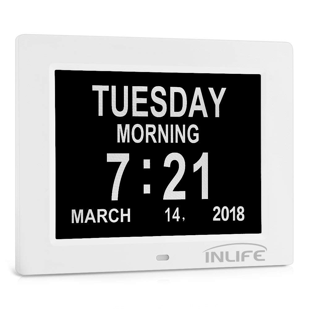 INLIFE Dementia Clocks 2018 Calendar Clock Day Date Clock Digital Alarm Clock with Large Clear Digits Display