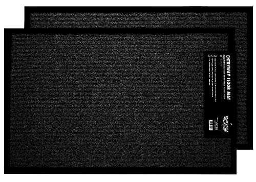 2-Pack Indoor Outdoor Mat Home, Office, RV More, Black Door Mats Entryway, Garage, Kitchen, Patio, Bathroom, 17 29.5-inch Ribbed Door Rugs Entrance, Safe & Durable Home Entry ()