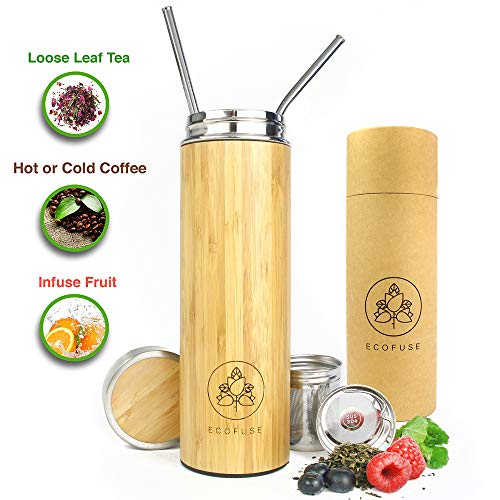 Ecofuse Bamboo Tea Tumbler Thermos for Loose Leaf Tea, Coffee Mug & Fruit Water w/Stainless Steel Infuser 18 oz. Insulated Travel Bottle. Reusable Stainless Steel Metal Straws Leak Proof BPA Free.