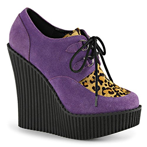 (Womens Closed Toe Wedges Purple Creepers Shoes Leopard Print Platform Boots 5 ¼ Size: 11)