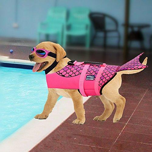 Large Dog Life Jacket Fish Style Floatation Vest with Pet Dog Sunglasses WaterProof Protection - Sunglasses Fetch