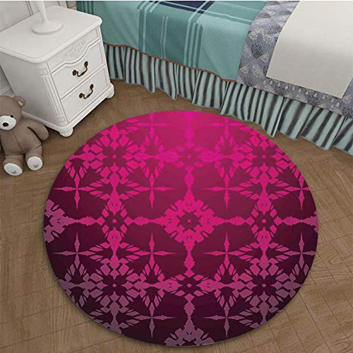 Bedroom Area Rugs Coffee Table Floor Mat Tile Floor Cover Indoor Outdoor Mat 2.62 Ft Diameter Magenta Decor,Victorian Stylized Classical Bound Ornamental Mosaic Patterns Nostalgic Design,Rosewood ()