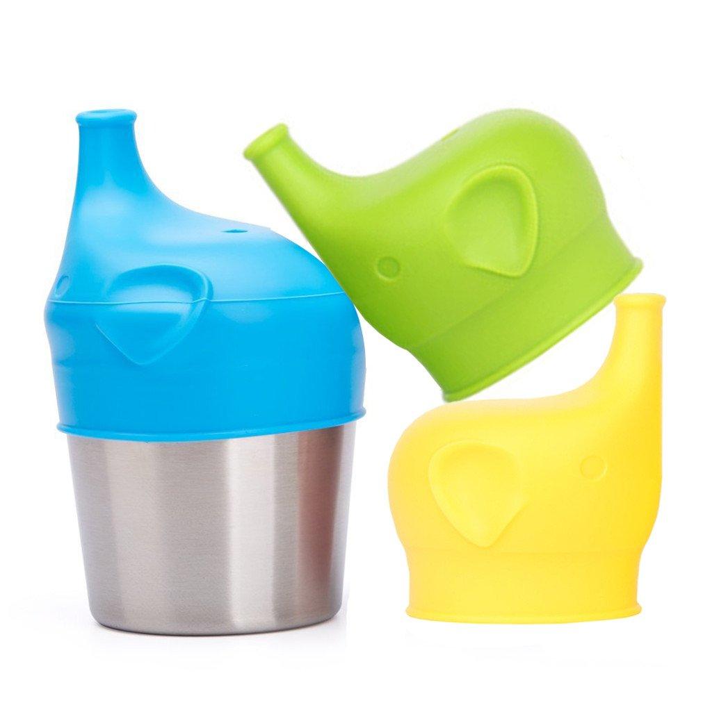 vert Scoolr Couvercles /à bec pour tasse de b/éb/é forme t/ête d/'/él/éphant bleu silicone de qualit/é alimentaire lot de 3 jaune
