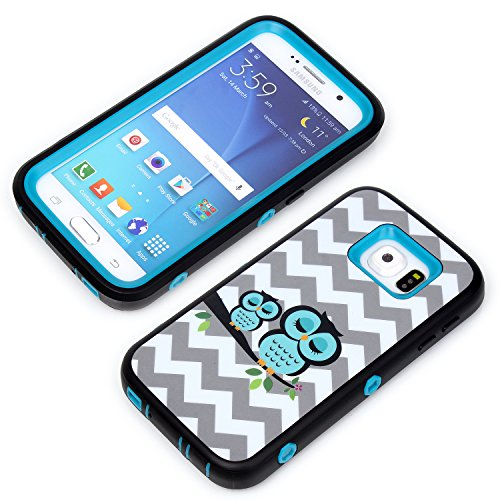 Galaxy S6 Phone Cases, Vogue Shop Beautiful Design 3in1 Hybrid Case Cover for Samsung Galaxy S6. Two Owl Hard Cover for Galaxy S6 Three Layer Elegant Wave Printed Design Plastic Hybrid High Impact Defender Case Combo Hard Cases Covers Scratchproof Dustproof Shockproof Durable Hybrid High Impact Hard in Mint Green Pattern Silicone Armor Case Cover for Galaxy S6 (Three Month Warranty) (Blue)