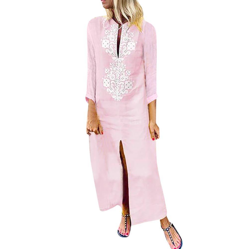 Women's Paisley Long Sleeve Baggy Cotton Linen Split Kaftan Maxi Dress (Pink, M)