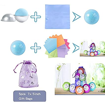 SHEEFLY 173 Pieces Bath Bomb Mold Set with 12 pcs 3 size DIY Metal Molds,5 Spoons,50 Wrapping papers,50 Shrink Wrap Bags,50 Stickers,5 Gift Bags for Bath Bomb Making
