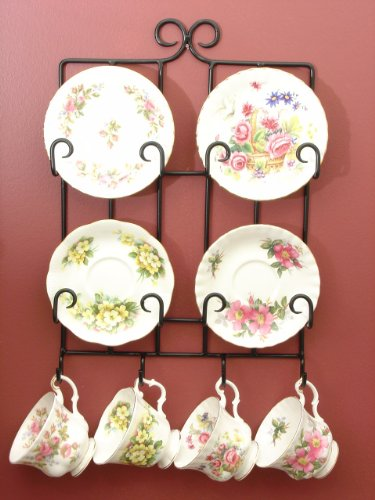 Black Tea Cup Rack, Hangs on the wall, Hold 4 Sets of Cups -
