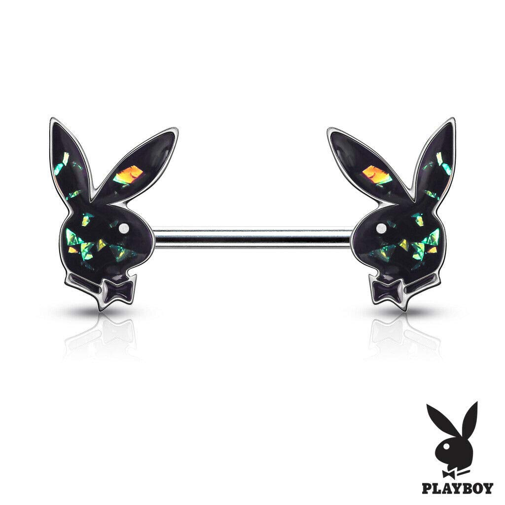 Inspiration Dezigns Pair of 14GA Opal Glitter Filled Playboy Bunny Ends 316L Surgical Steel Barbell Nipple Rings