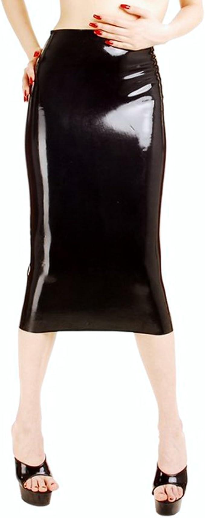 EXLATEX Mujer Latex Goma Spanking Open Clubwear Falda Larga ...