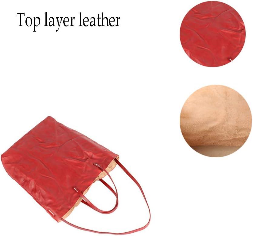 FFYUYI Retro Klapp Tote, Literarische High-Capacity Top Layer Leder Lady Schultertasche,Grün Red