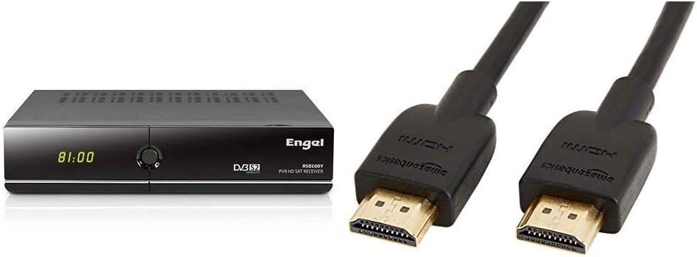 Engel RS8100Y - Receptor TV satélite HD PVR con WiFi & Amazon Basics - Cable HDMI 2.0 de Alta Velocidad (Ethernet, 3D, vídeo 4K y ARC, 0,91 m, ...