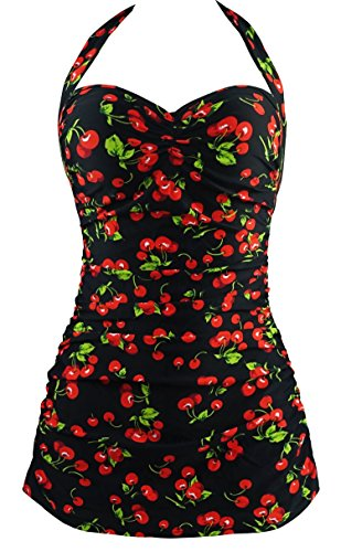 Cocoship Black & Red Cherry Floral Vintage Sheath Inspired Boy-Leg One Piece Maillot Swimsuit XXXL(FBA)