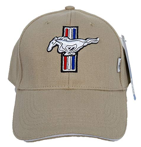 Ford Mustang GT Fine Embroidered Hat Cap, Beige
