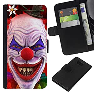 KingStore / Leather Etui en cuir / Samsung ALPHA G850 / Payaso Sonrisa malvada Diablo Rojo Ojos Creepy