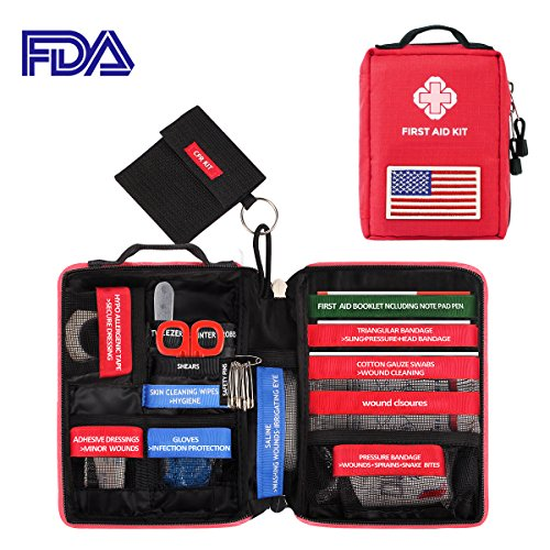 First Aid Medical Kit, Waterproof Molle First Aid Bag w/ Reflective Strip and American Flag Badge, 77-Piece Kit for Emergency at Home, Outdoors, Survival, etc.