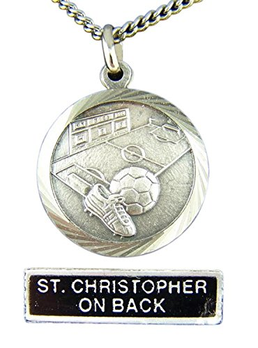 Medal Football Pendant (Nickel Silver Patron Saint Christopher Soccer Medal Pendant, 7/8 Inch)