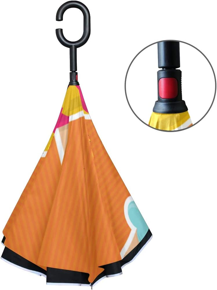 Double Layer Inverted Inverted Umbrella Is Light And Sturdy Sweets Reverse Umbrella And Windproof Umbrella Edge Night Reflection