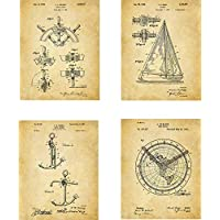 Sailing Patent Wall Art Prints - set of Four (8x10) Unframed - wall art decor for sailors and boat fans