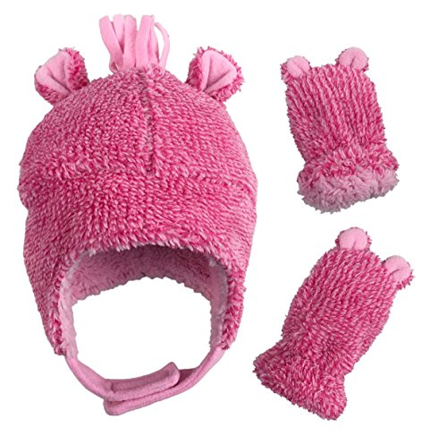 - N'Ice Caps Little Girls and Baby Sherpa Lined Fleece Hat Mitten Set with Ears (Fuchsia Fuzzy Infant, 6-18 Months)