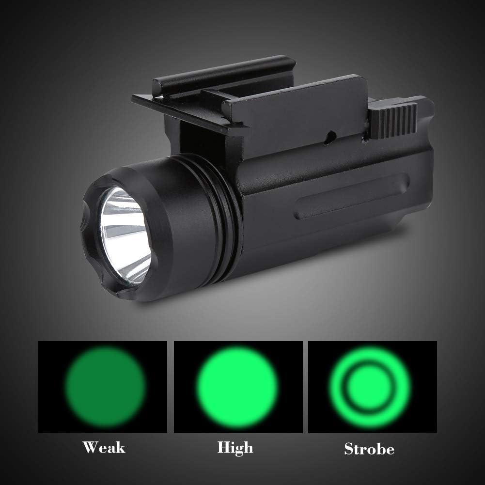 Lampe de poche sur rail lampe torche de chasse tactique /à DEL verte 3 modes pour montage sur rail de 20mm Picatinny Weaver lampe de poche tactique