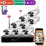 corsee [Forward Wireless Cameras] Auto Pair 8CH 960P Wireless Security Camera System with Outdoor 8 x 1.3 Megapixel Wifi Night Vision Bullet Cameras,1TB HDD (Easy View by IOS or Android App)