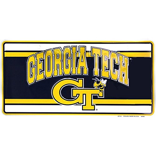 Signs 4 Fun SLC2744 Georgia Tech w/Logo, License - Holiday Tech Georgia Ornament