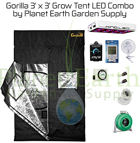 51gM-KX2-BL Gorilla Grow Tent (3' x 3') LED Combo Package #2