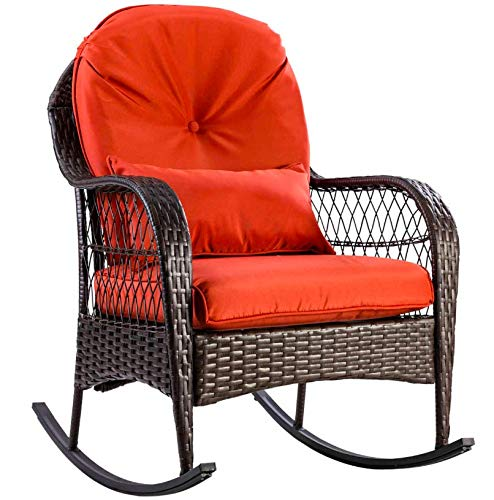 Xnonix Patio Rattan Wicker Rocking Chair Porch Deck Rocker Outdoor Furniture - Chair Potty Rocker